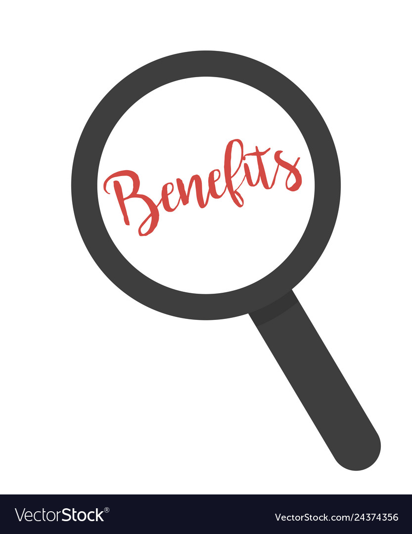 Inscription benefits under magnifying glass on a