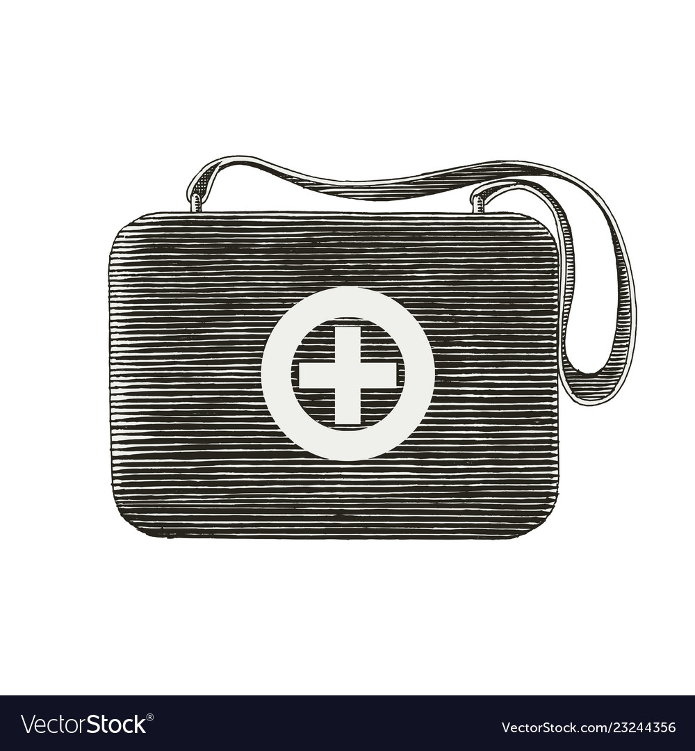 Medical first aid bag hand drawing vintage style