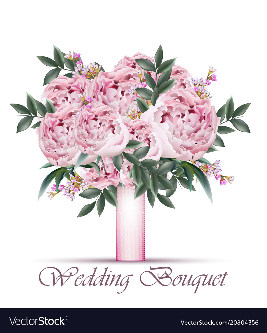 Peonies Wedding Bouquet Vintage Floral Royalty Free Vector