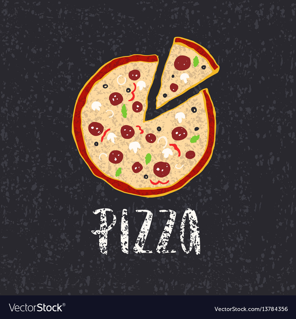 Pizza lettering with hand drawn pizza circle