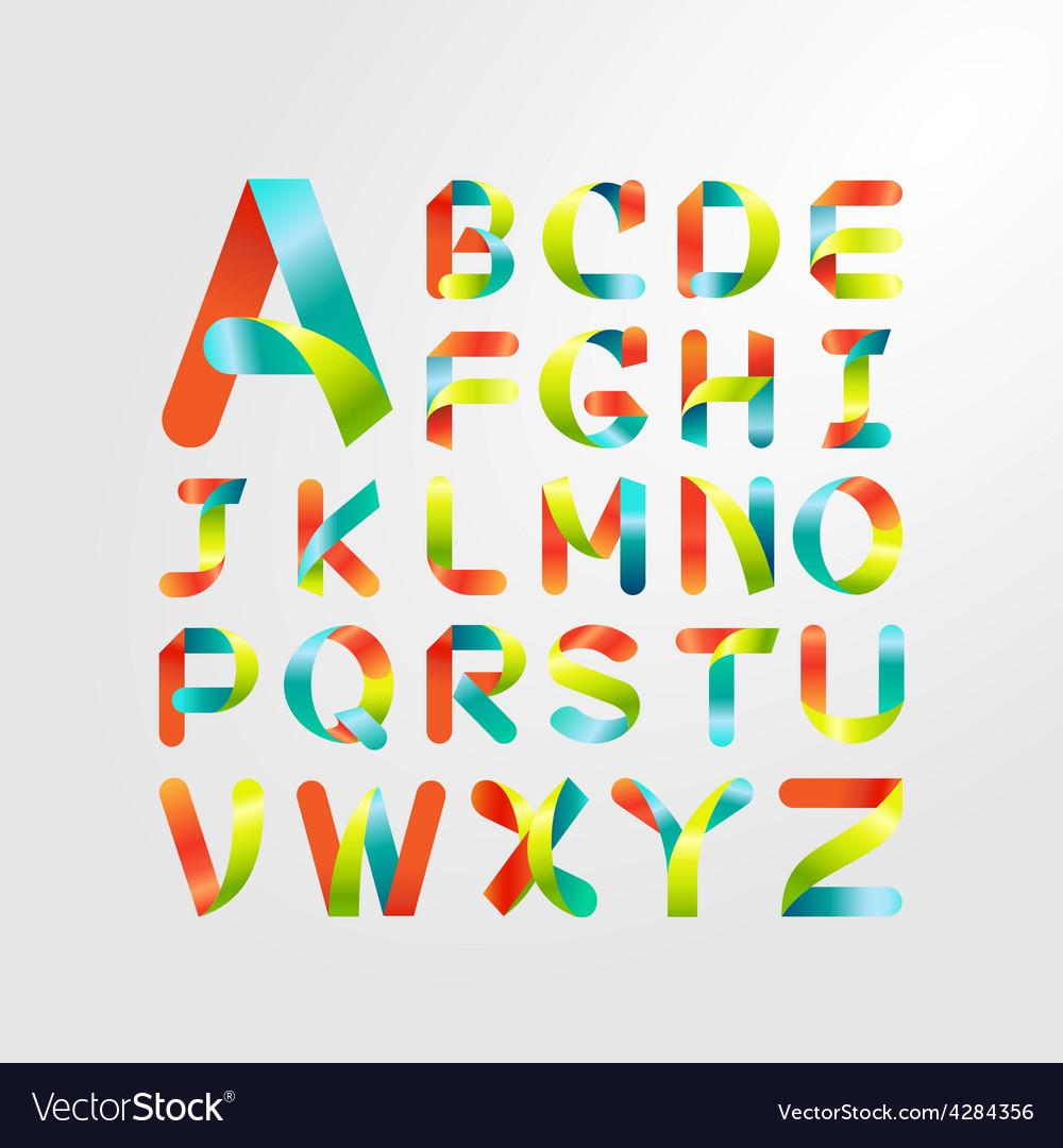 ribbon alphabet colorful font capital letter a z vector image