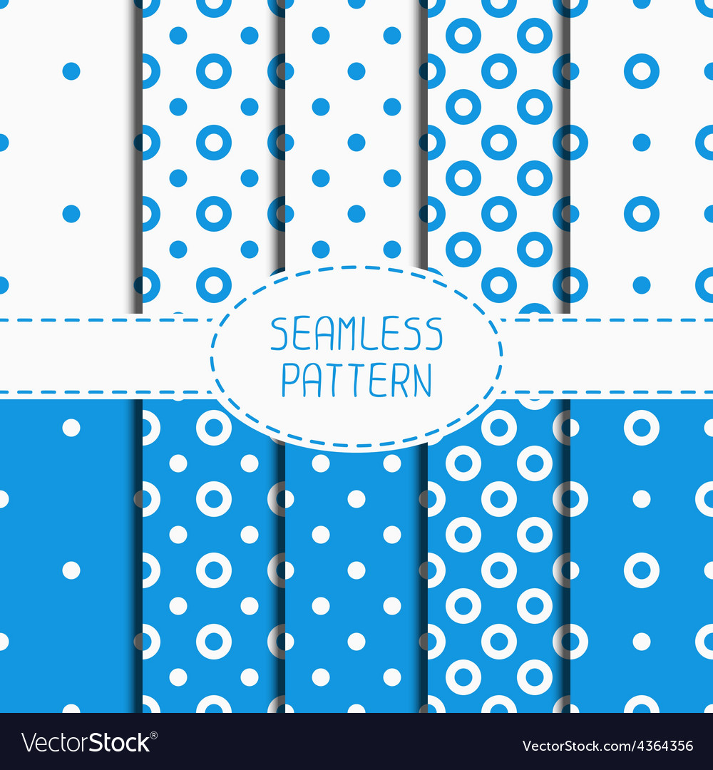 Set of blue geometric seamless polka dot pattern