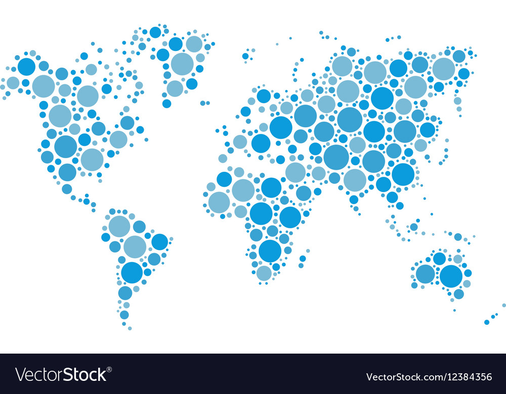 World map mosaic of blue dots in various vector image gumiabroncs