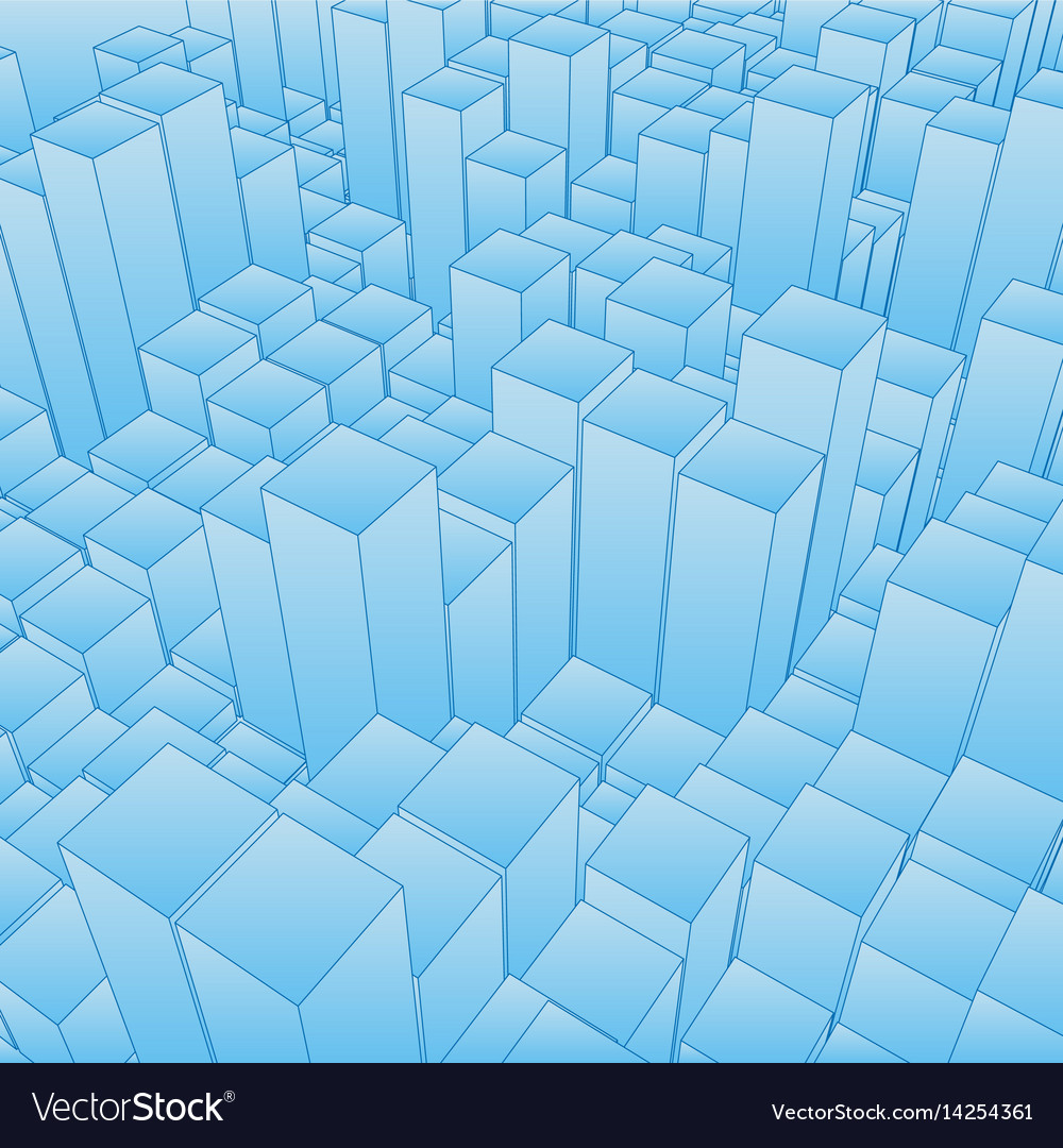Abstract landscape with blue cubes