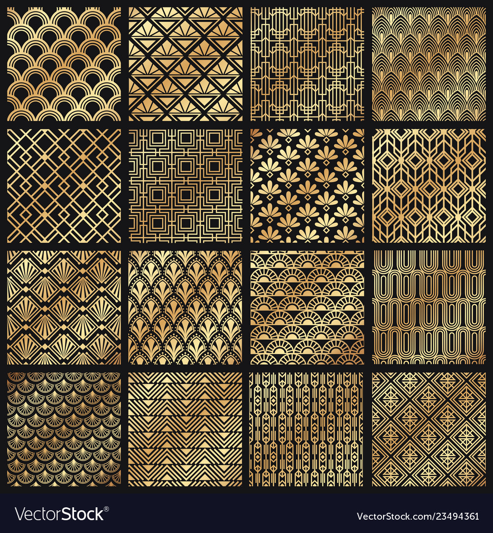 Art deco patterns decorative golden lines