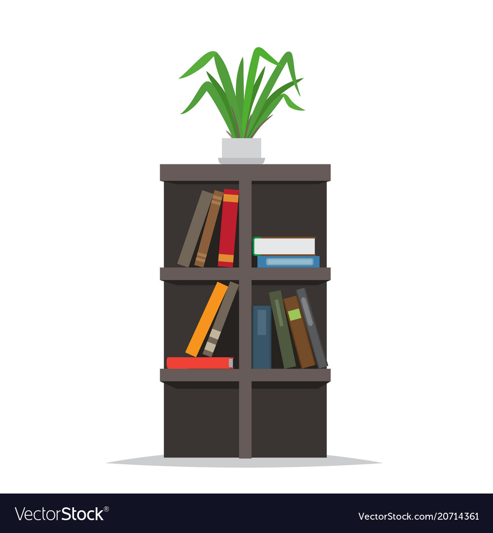 Bookcase with books and flowerpot on top