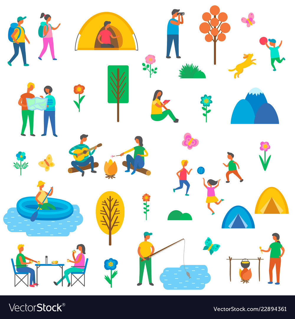 Camping nature set of icons