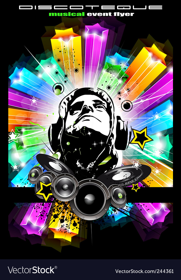 disco flyer for music event royalty free vector image