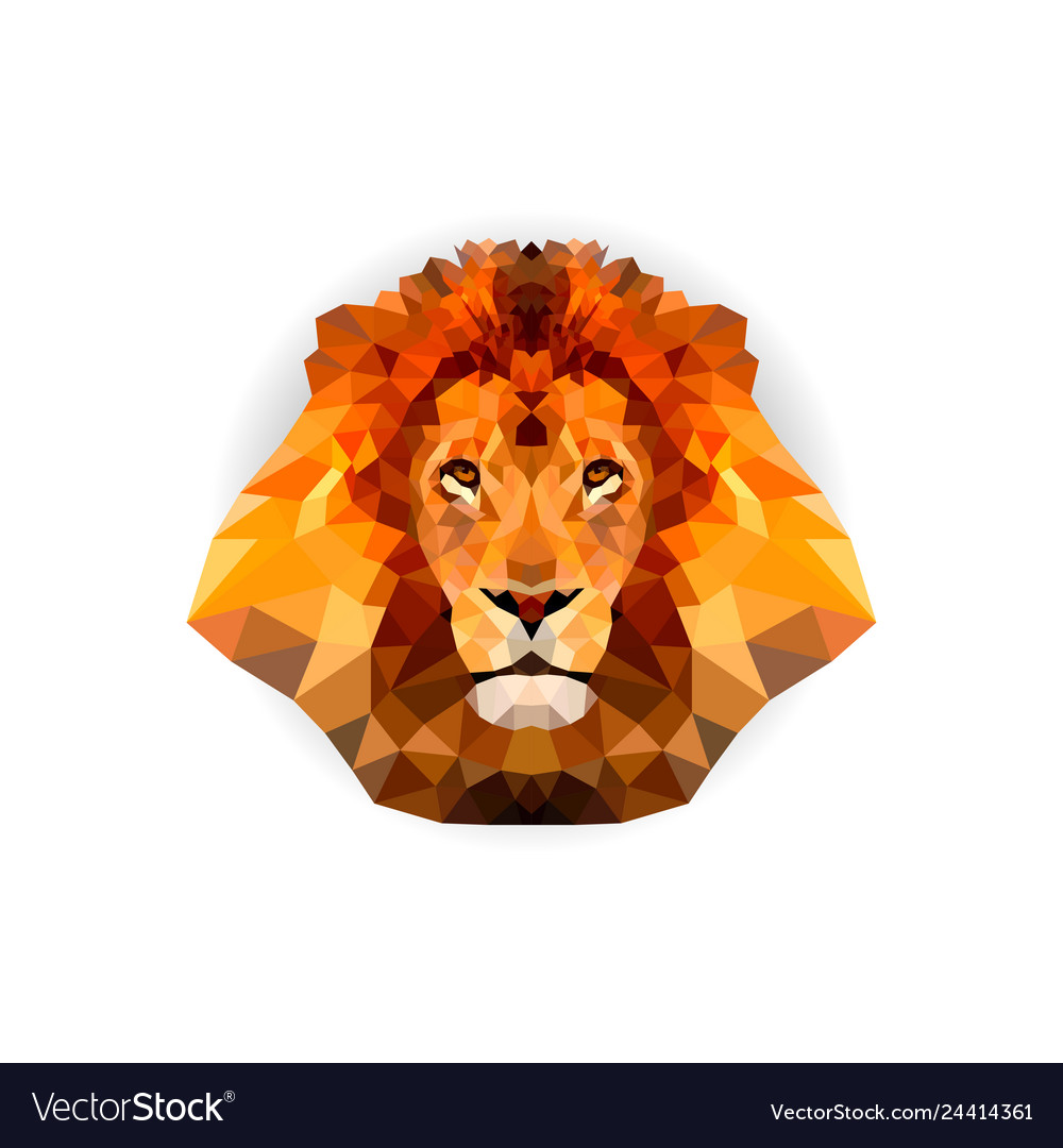 Geometric polygon lion head in triangle style