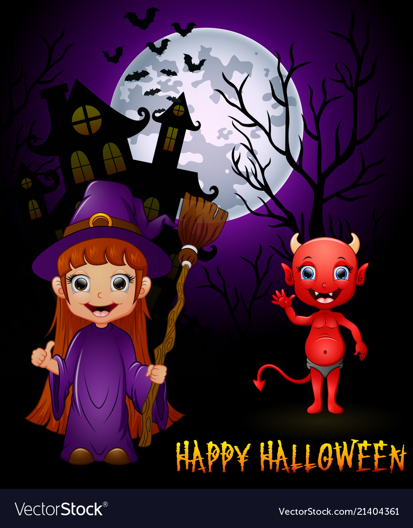 Little witch cartoon holding broom and red devil o