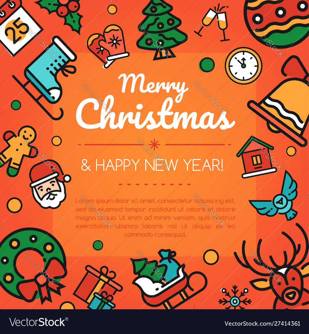 Merry christmas and happy new year social media