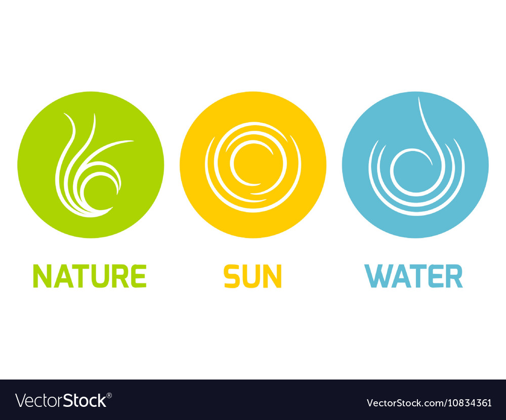 Nature Sun and Water elements flat icons