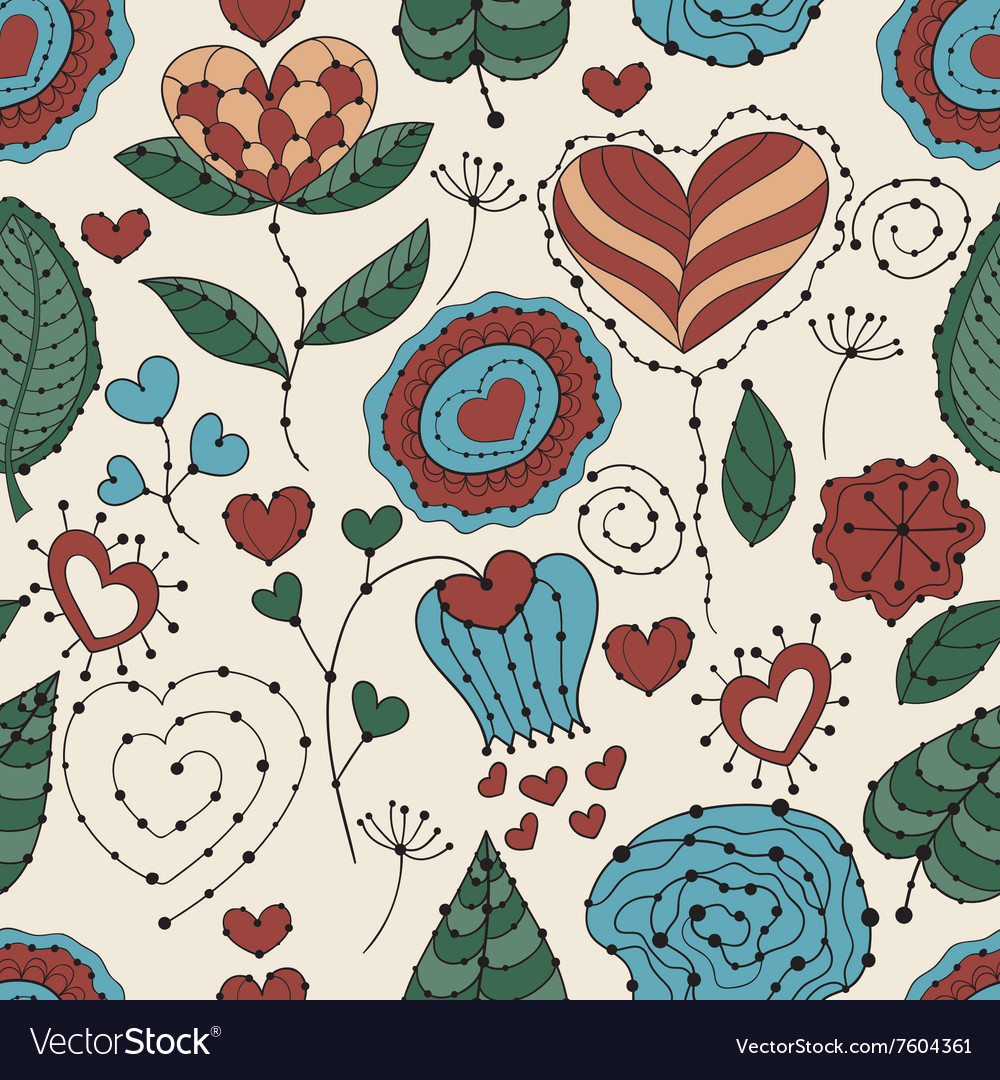 Seamless Valentines Day Floral Pattern