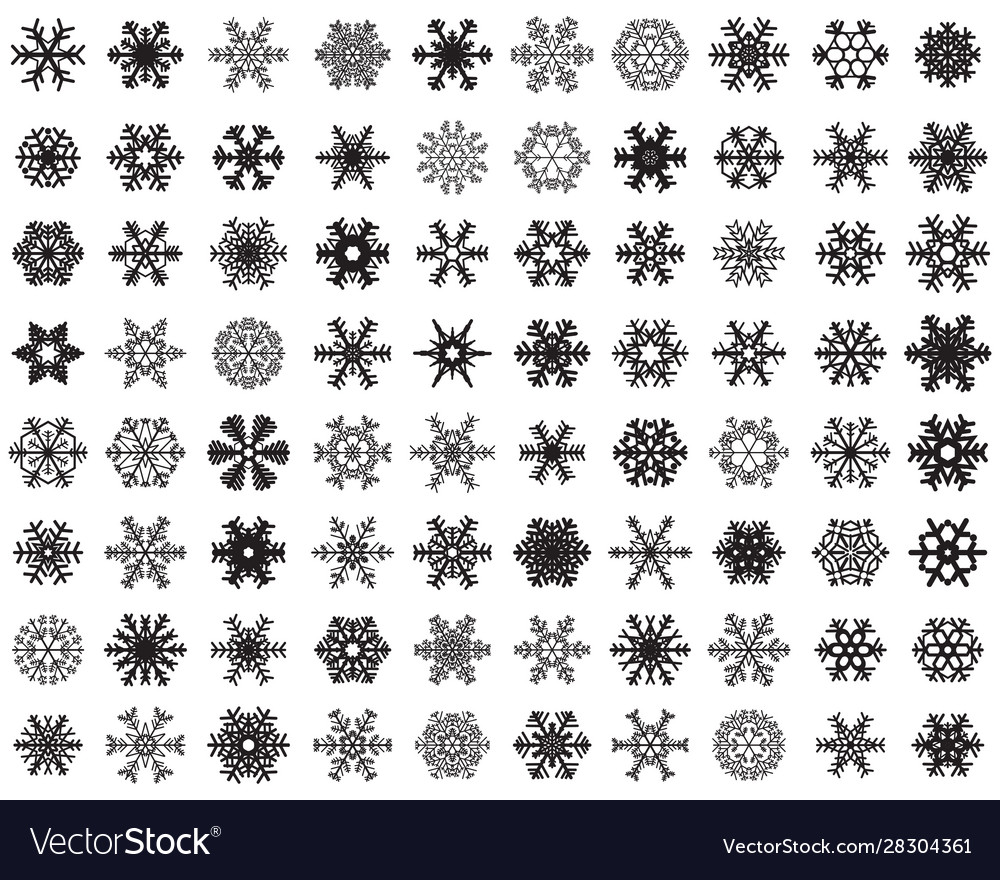 Set different black snowflakes on a white backg
