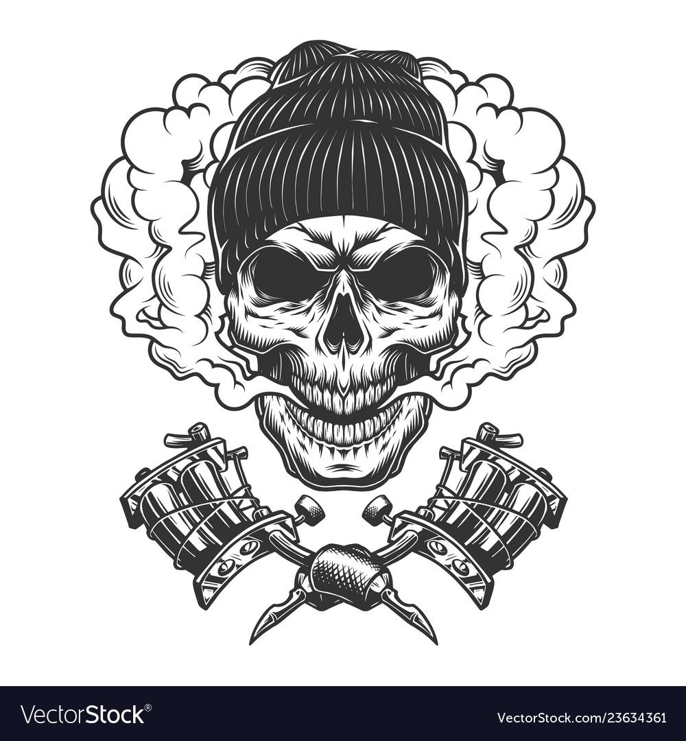 Vintage monochrome skull wearing beanie hat