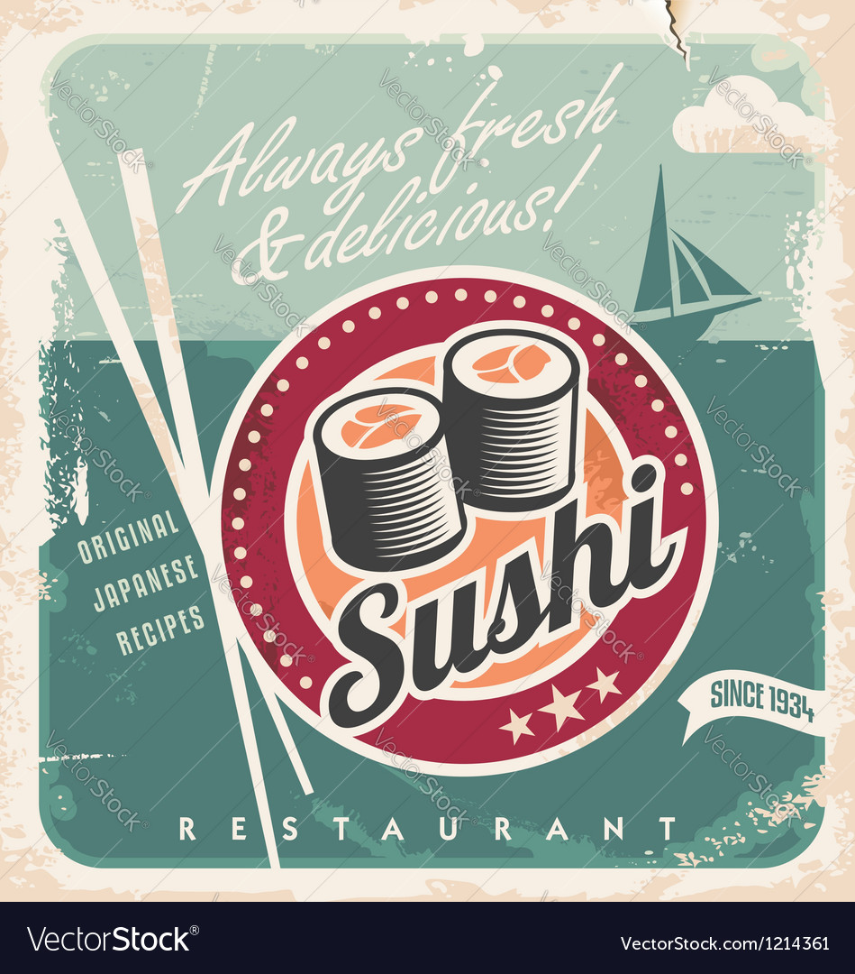 Vintage Poster For Japanese Restaurant Royalty Free Vector