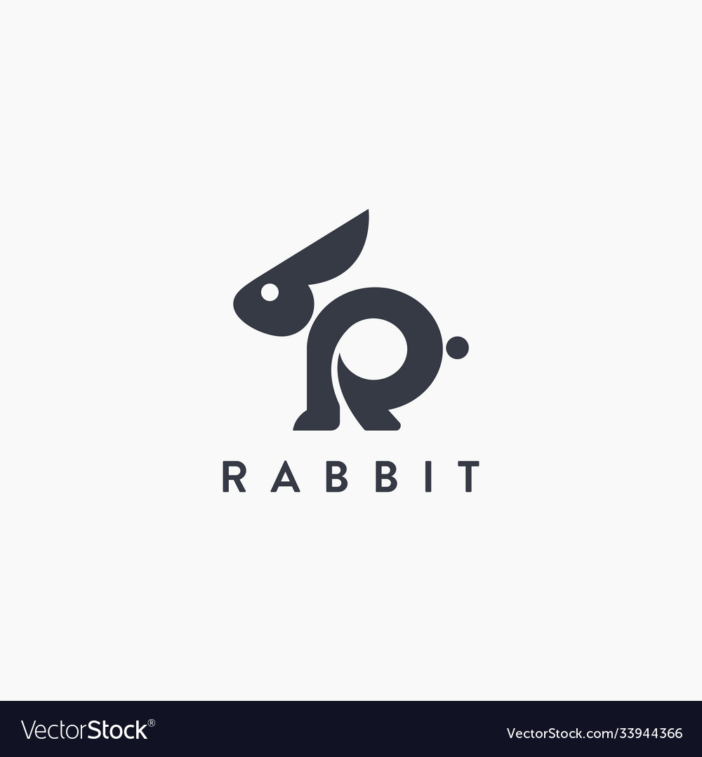 Abstract letter r for rabbit logo icon template