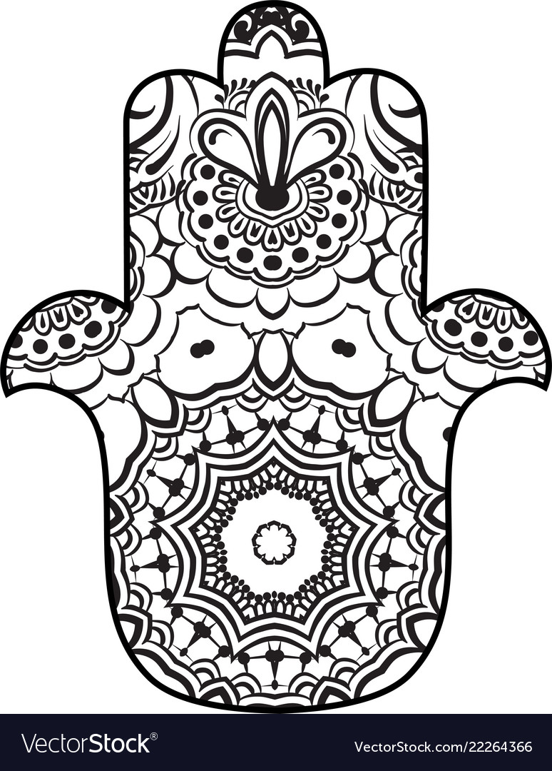 coloring page with hamsa with round ethnic pattern vector