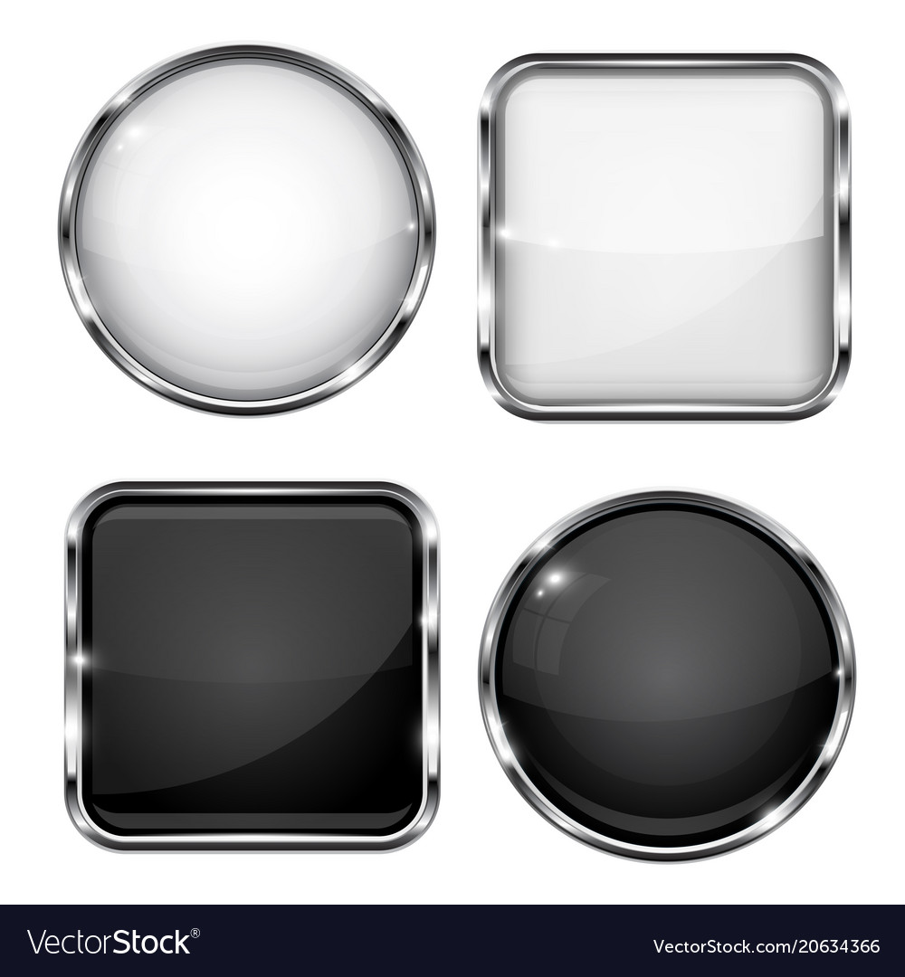 Glass buttons with chrome frame black and white