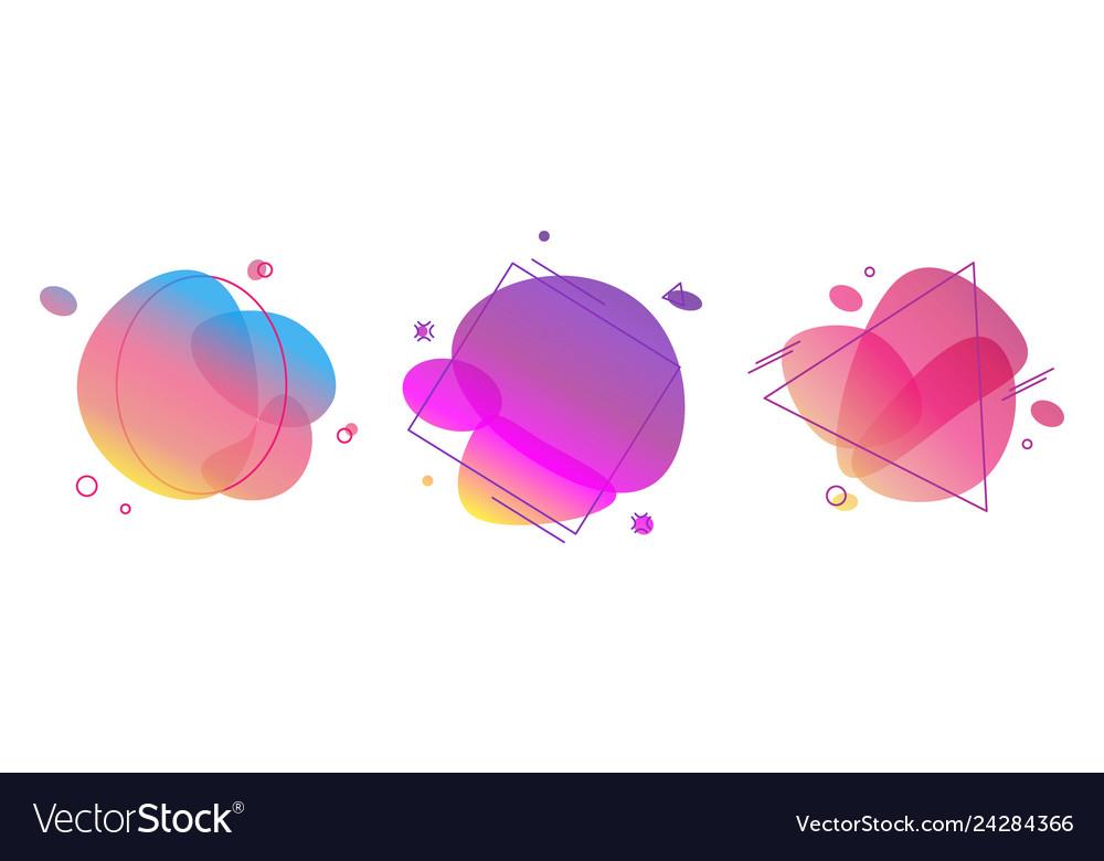 Liquid abstract color badges set bright trendy