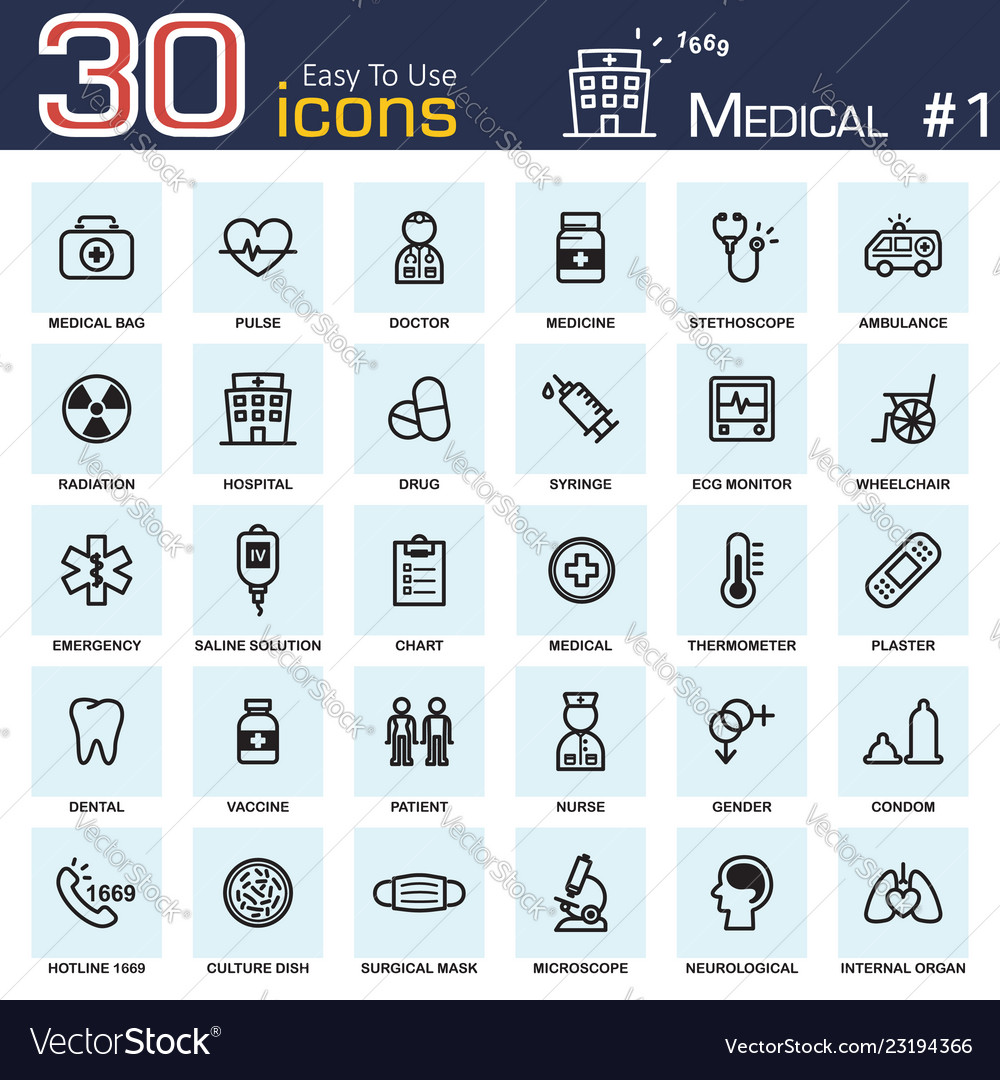 Medical icon set 1 outline style