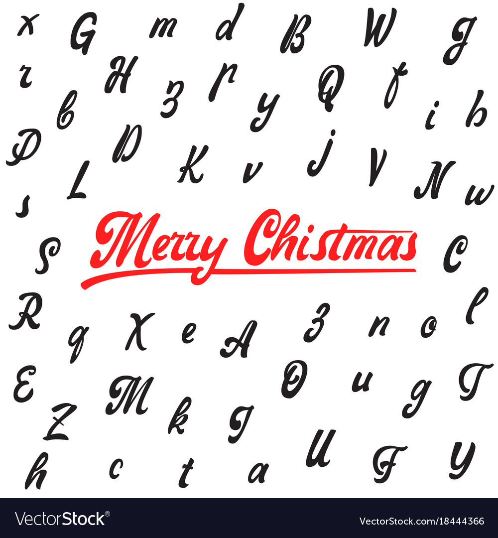 Merry christmas handwritten latin alphabet can
