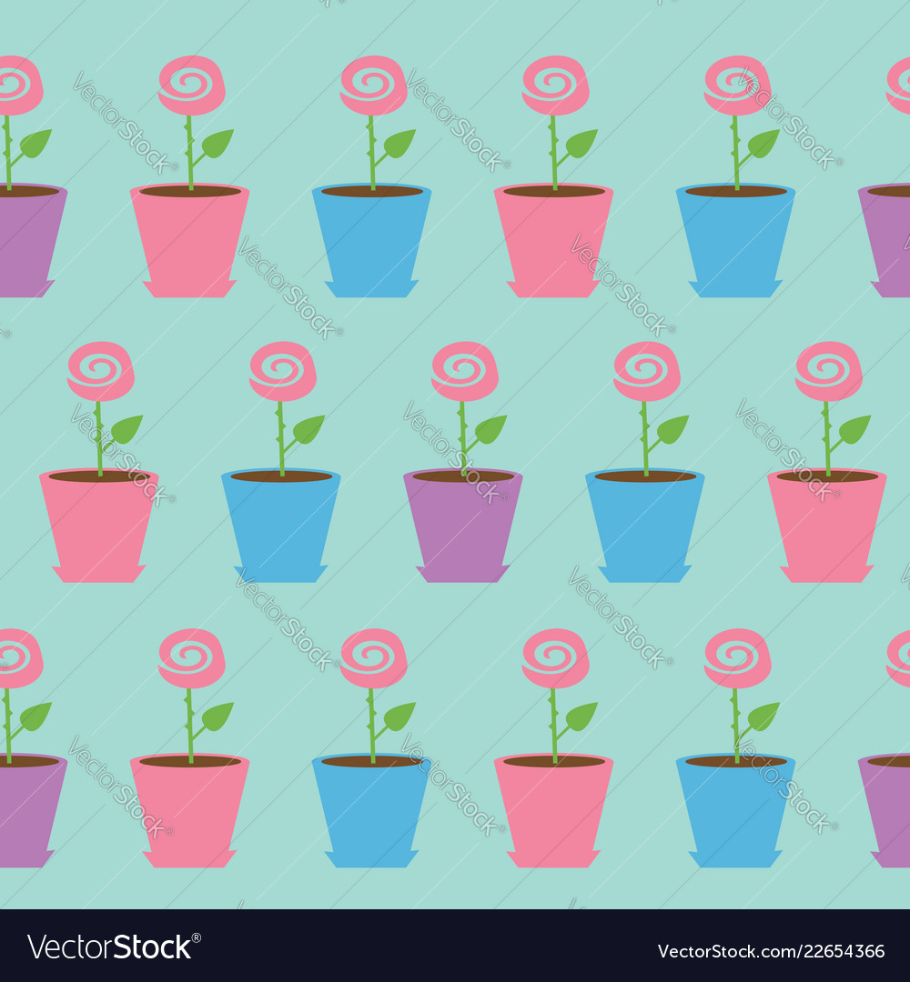 Pink rose flower in pot seamless pattern wrapping