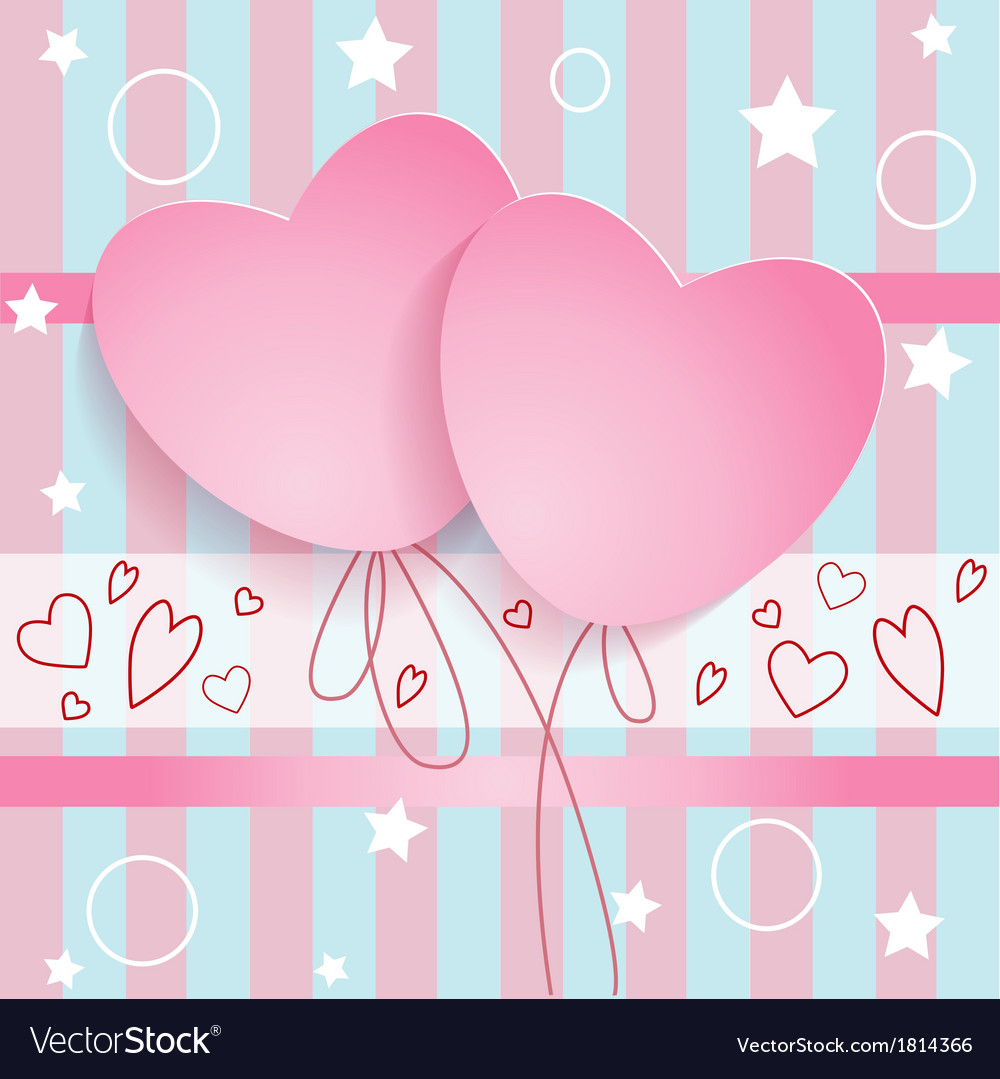 Postcard two hearts vector image