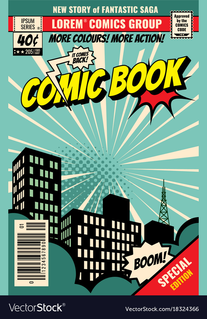 Retro magazine cover vintage comic book vector image