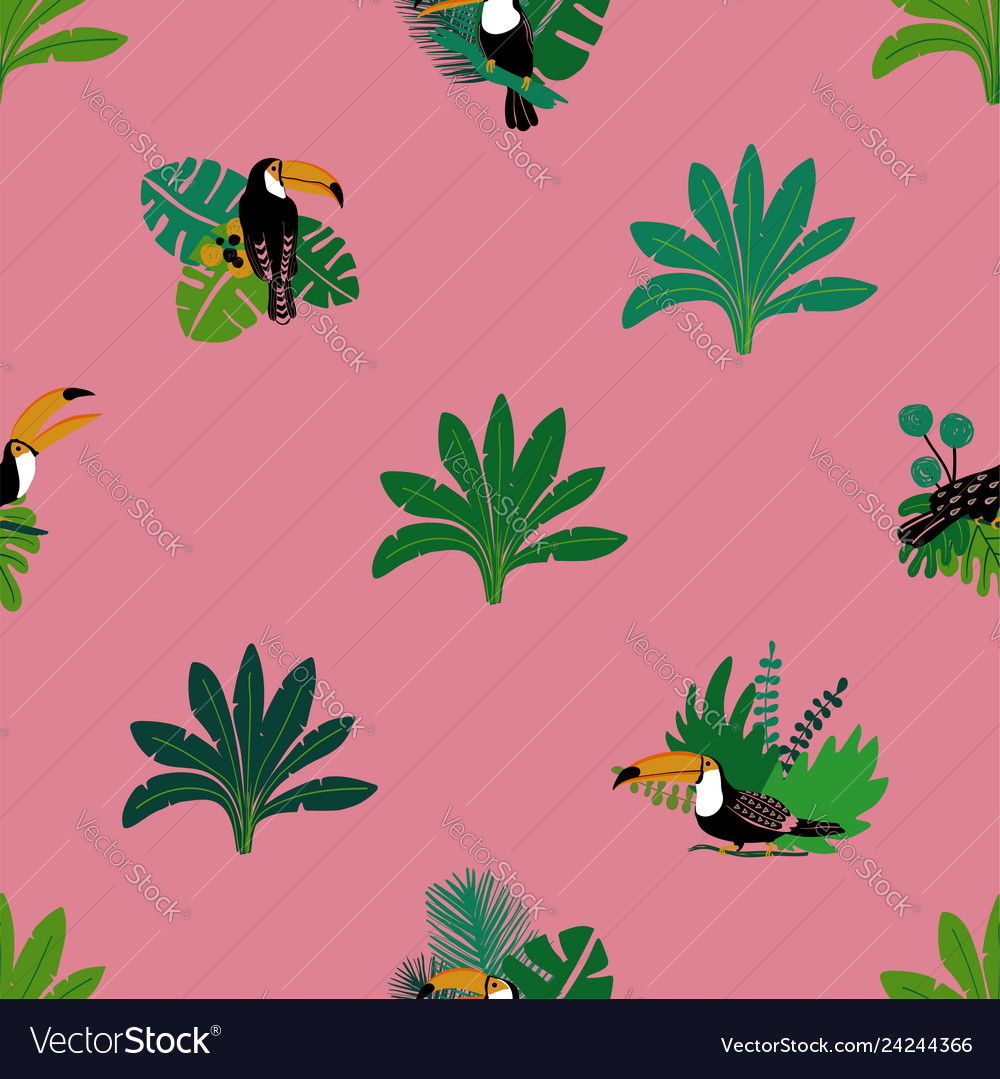 Seamless pattern with toucan and plants