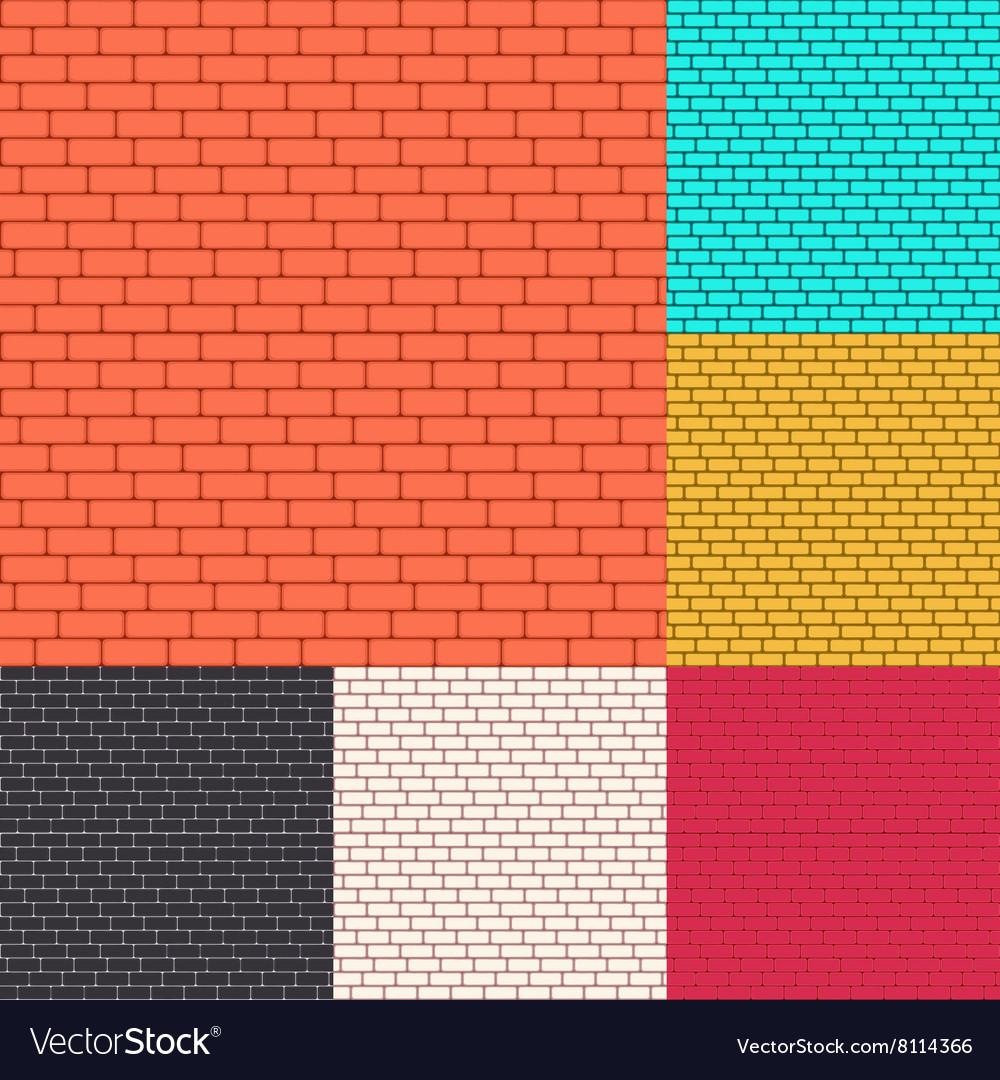 Set of brick walls seamless background