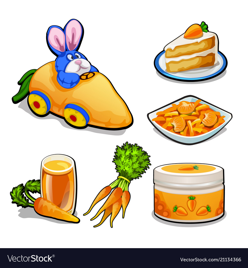 The set of items on the topic of carrots isolated