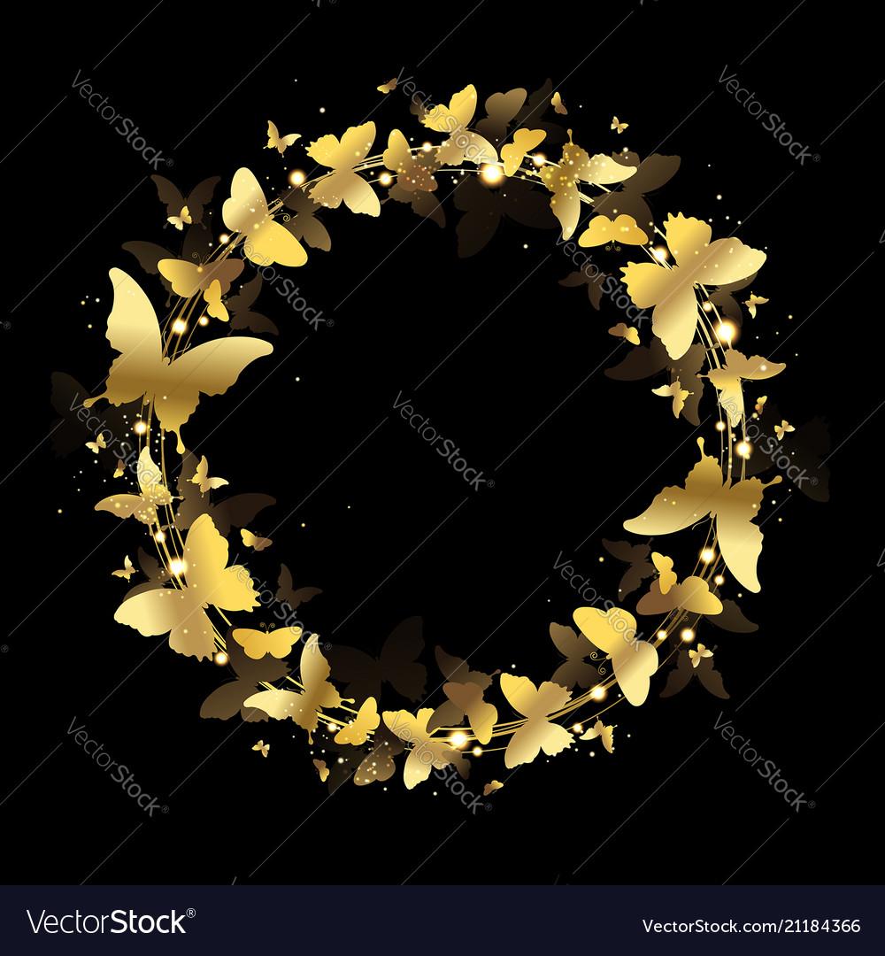 Wreath of gold butterflies