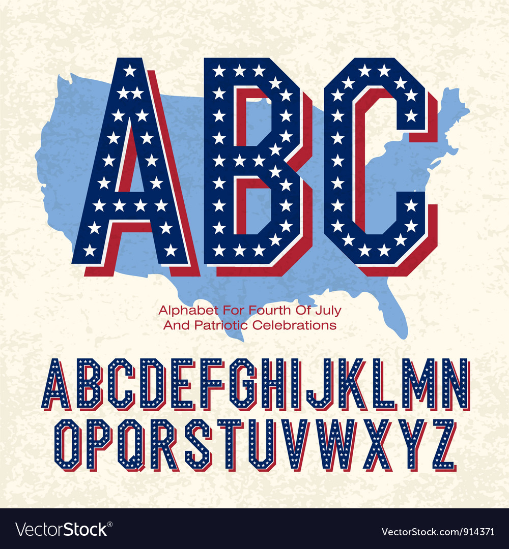 American font 4th july Royalty Free Vector Image