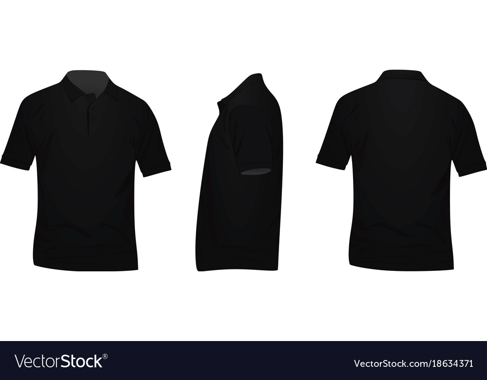 Black polo t shirt Royalty Free Vector Image - VectorStock d997a70bf38b