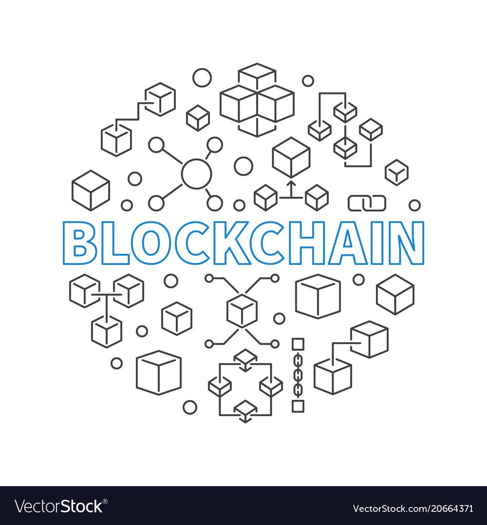 Blockchain technology round outline modern