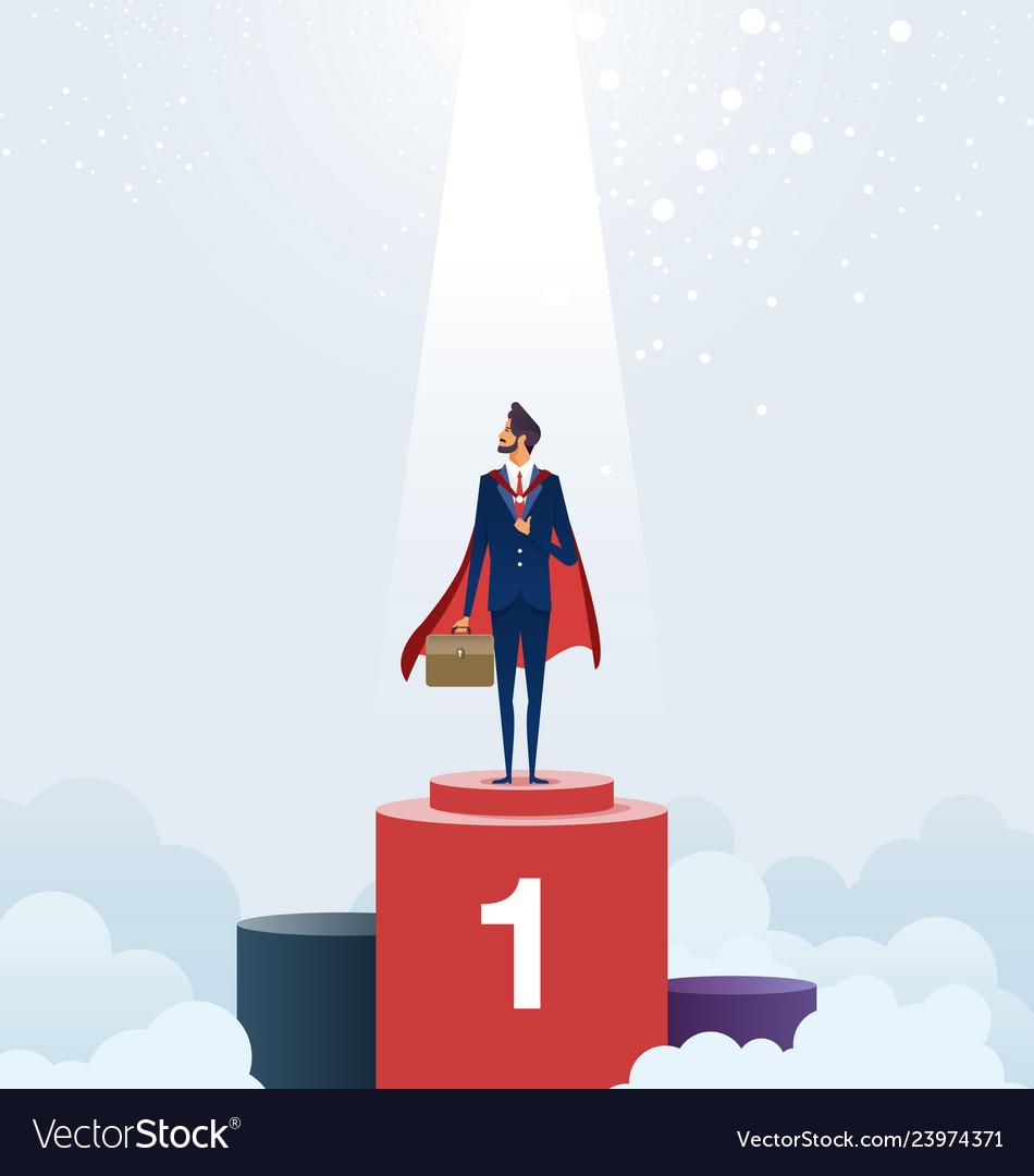 Businessman standing on pedestal