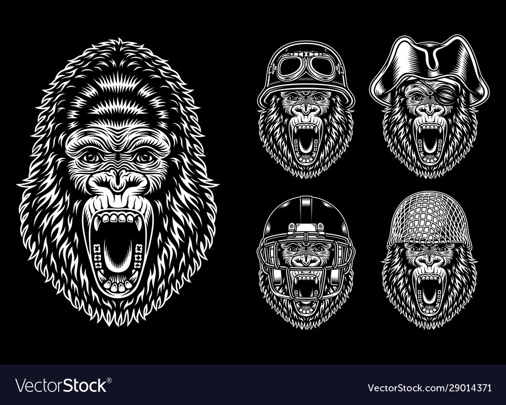Collection angry gorilla characters