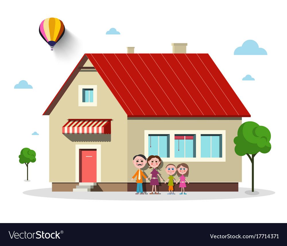 Family house flat design building with trees
