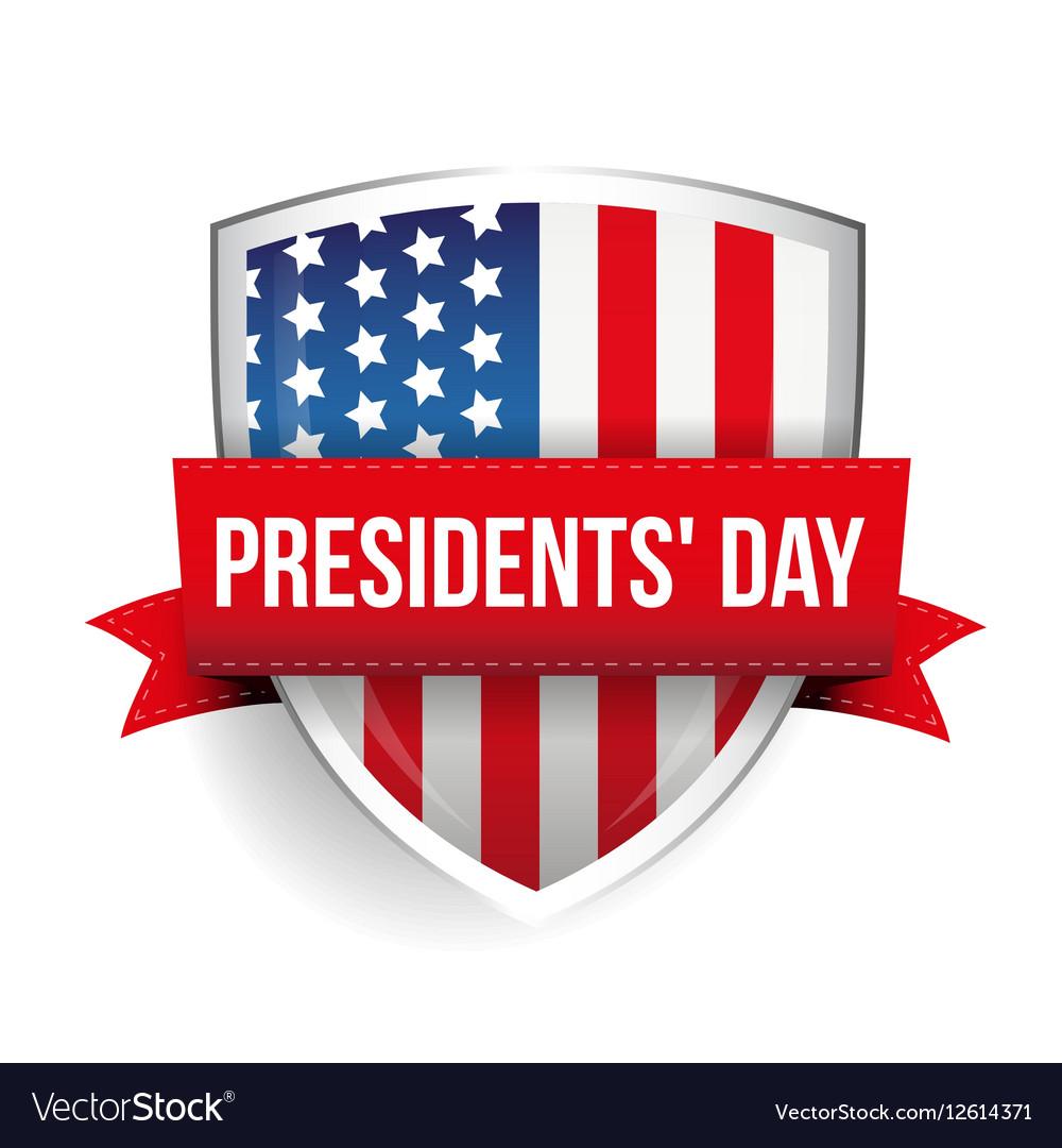 Presidents day on USA flag shield vector image