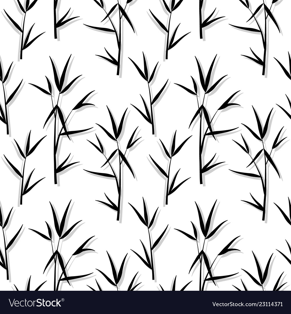 Seamless pattern with black bamboo leaves and