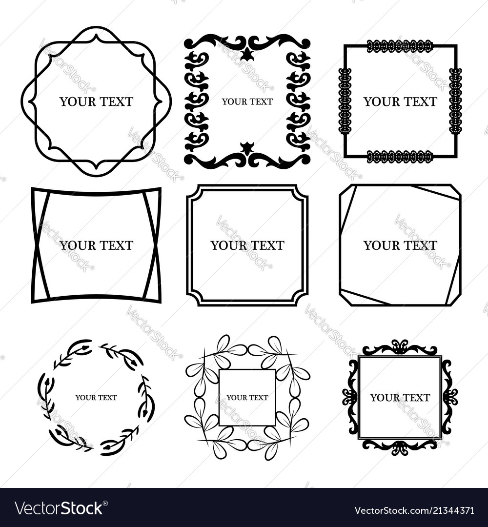 Set of outline decorative vintage frame