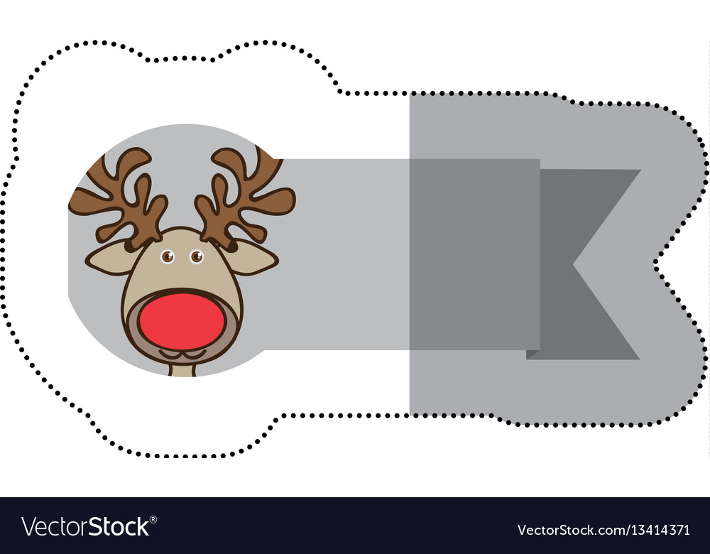 Sticker ribbon with face reindeer christmas animal