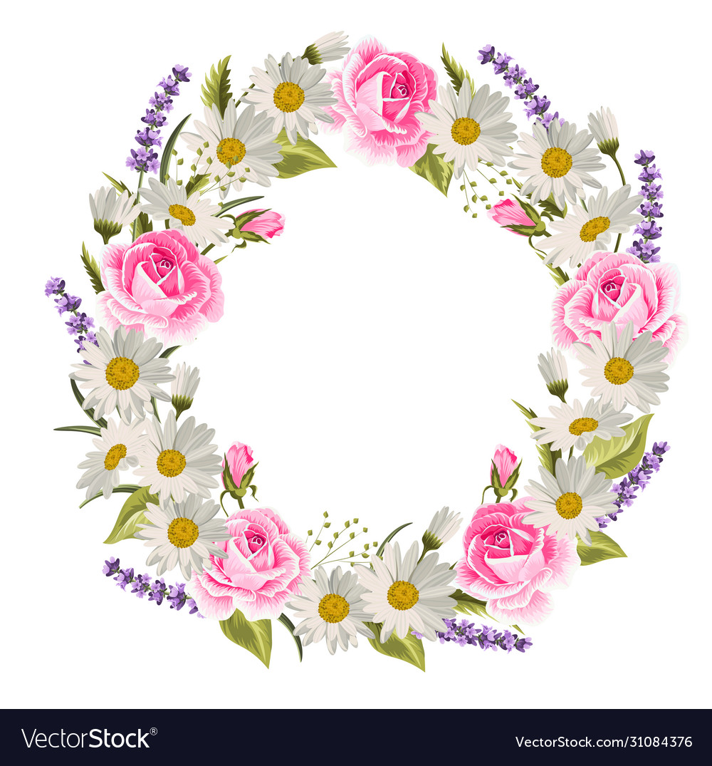 Beautiful floral wreath with roses lavenders and
