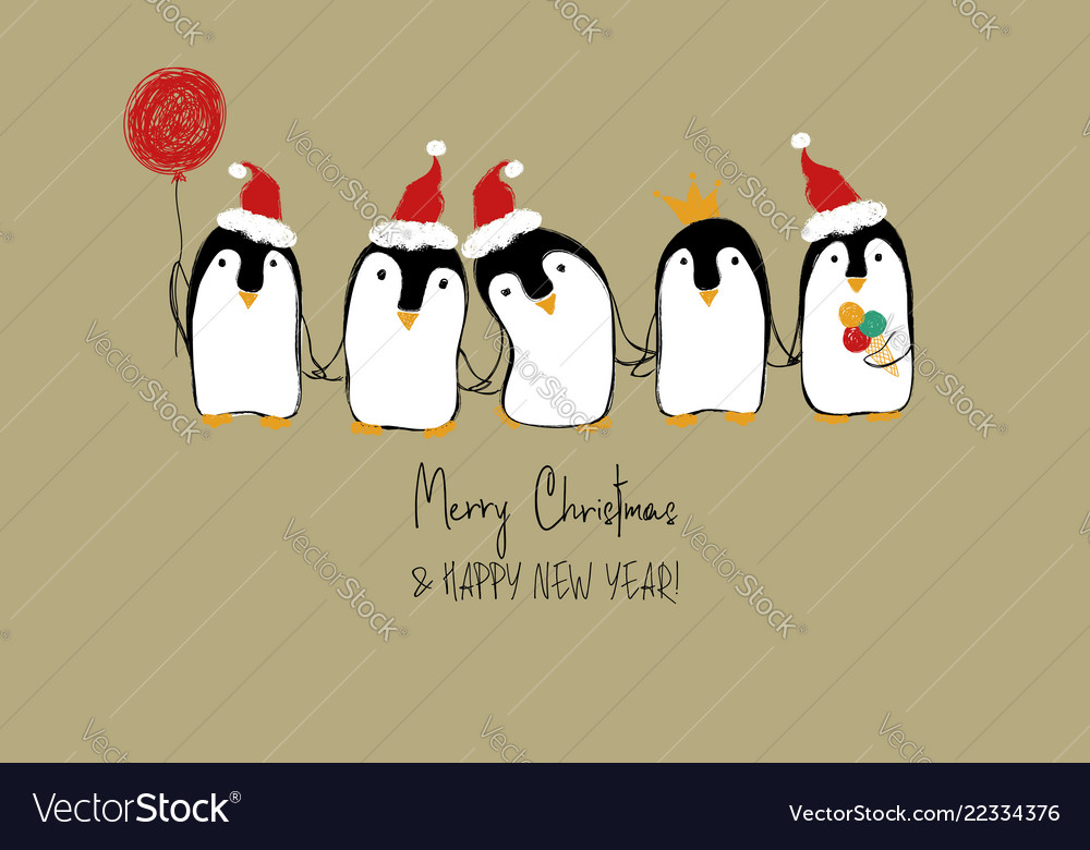 Christmas card with funny penguins