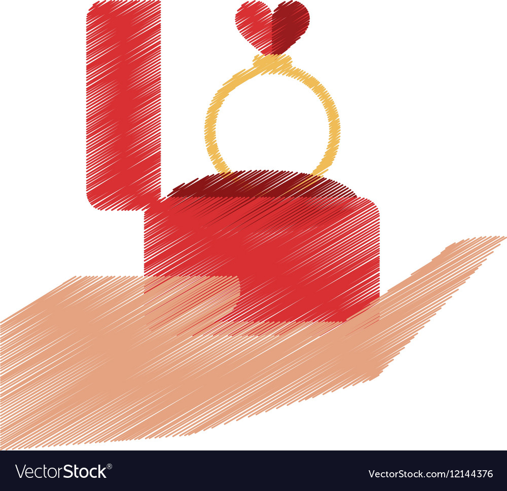 Drawing hand hold engagement box with ring vector image
