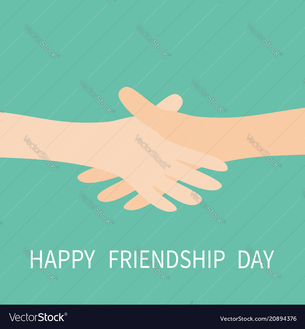 Happy friendship day handshake icon two hands