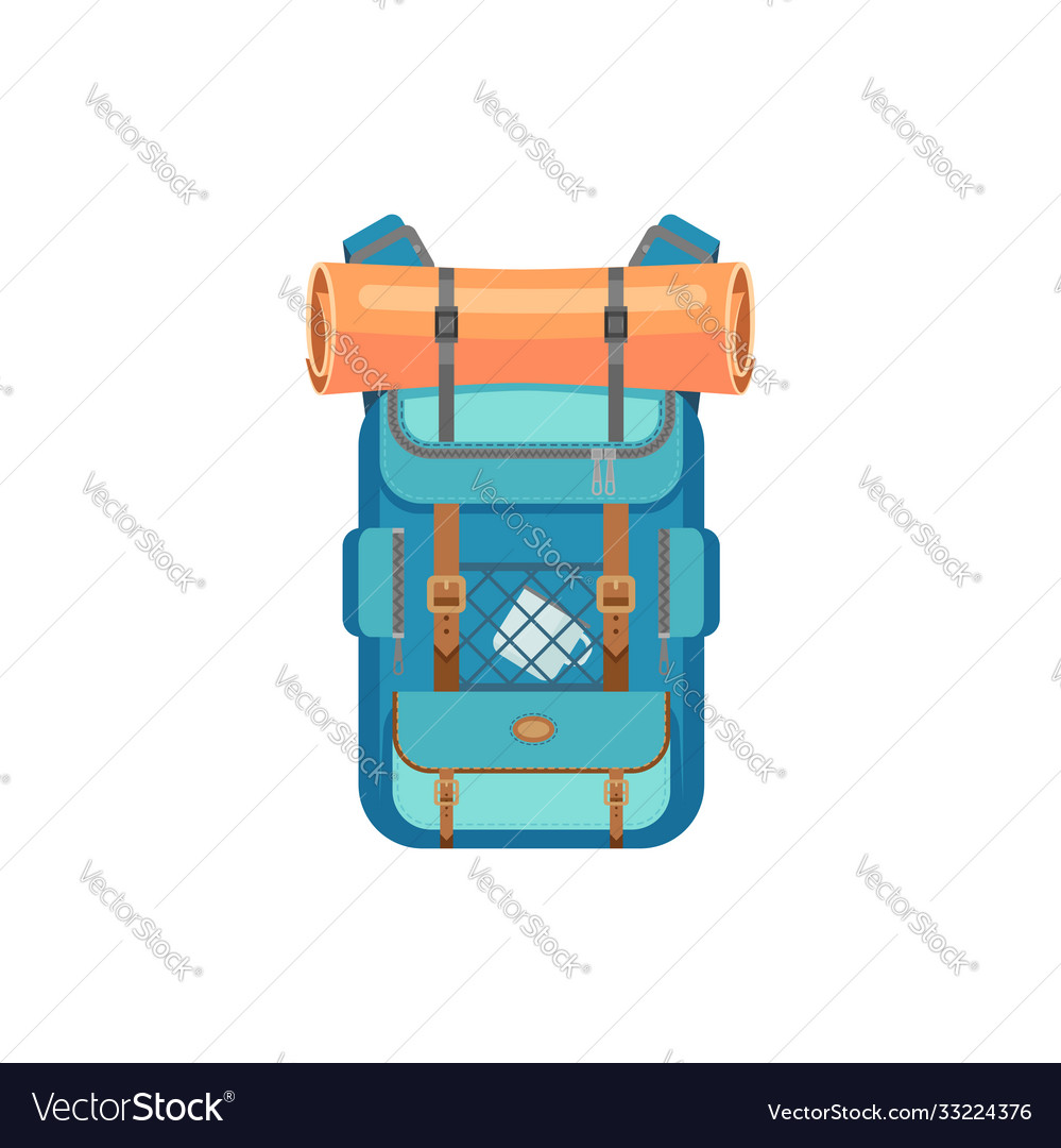 Hiking rucksack with mat cup isolated travel bag