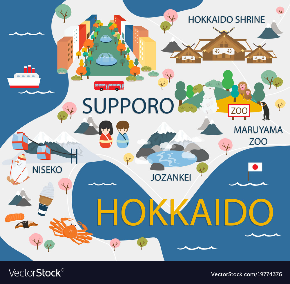 hokkaido travel map in flat royalty free vector image