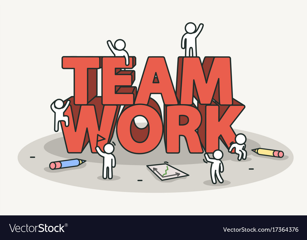little white with team work text teamwork and vector image